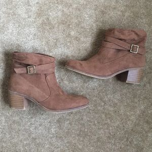 American Eagle Faux Suede Ankle Booties Brown
